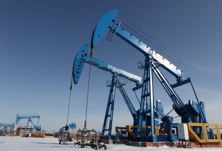 Oil pumps  Oil industry equipment Stock Photo - 17140457
