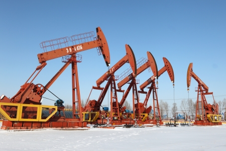 Oil pumps  Oil industry equipment Stock Photo - 17140535