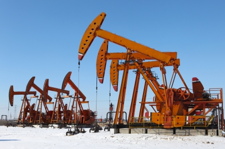 Oil pumps  Oil industry equipment Stock Photo - 17140463