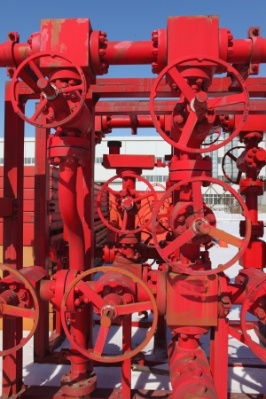 junction pipe: Red valves  Stock Photo