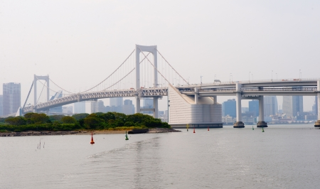 Tokyo, Japan - view of Rainbow Bridge from famous Odaiba island  photo
