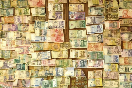 Collection of various money to background