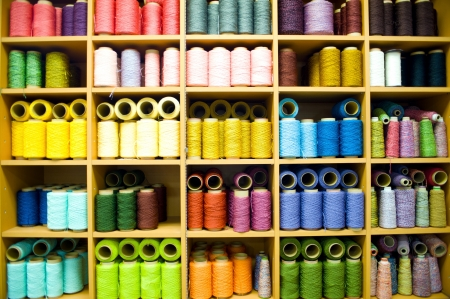 colorful bobbins with the place for your text  Stock Photo