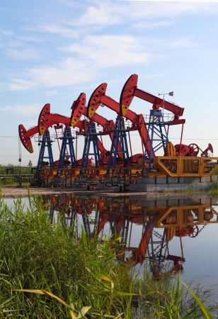 Oil pumps  Oil industry equipment   Stock Photo - 17377685