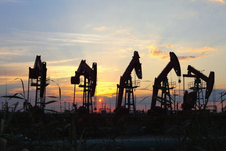Oil pumps  Oil industry equipment   Stock Photo - 17630937