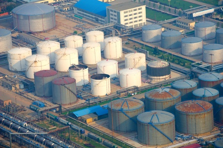 crude oil: aerial view of petrol industrial zone Stock Photo