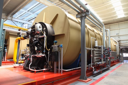 Modern boiler room equipment for heating system  Pipelines, valves, manometers