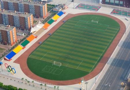 tennis stadium: Vista a�rea de un estadio moderno Editorial
