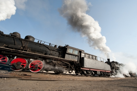 An Old Fashioned Steam Engine and Train