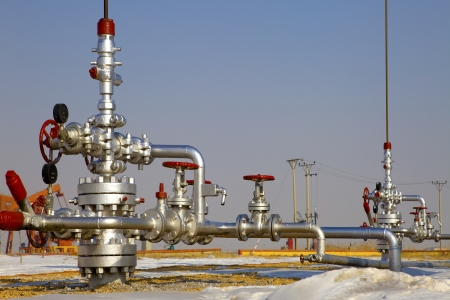 gas supply: production wellhead  Stock Photo