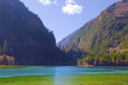 fairyland: Colorful beautiful lake in autumn  Stock Photo