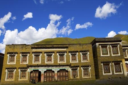 tibetan house: traditional countryside in tibet, typical tibetan house