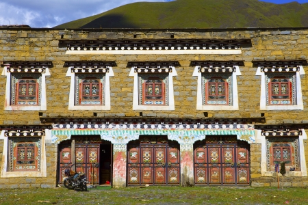 traditional countryside in tibet, typical tibetan house