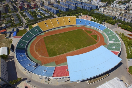Aerial view of a modern stadium
