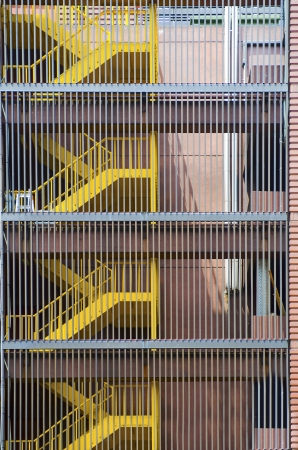 building external: External fire escape staircase on an old brick building