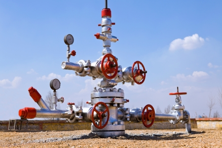 natural gas: production wellhead  Stock Photo