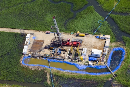 nodding: aerial view of oil pumps  Oil industry equipment