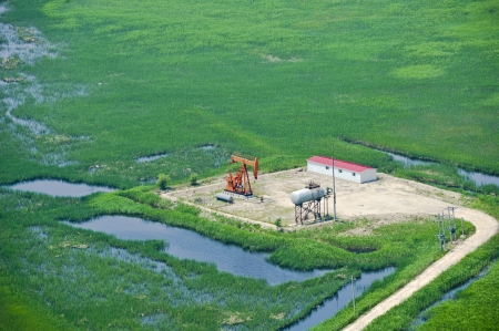 aerial view of oil pumps  Oil industry equipment  photo