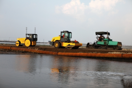 reclamation: Reclamation for port purposes of land by dredging   Stock Photo