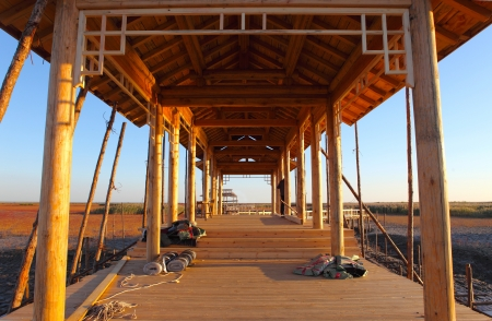 The construction of wooden houses photo