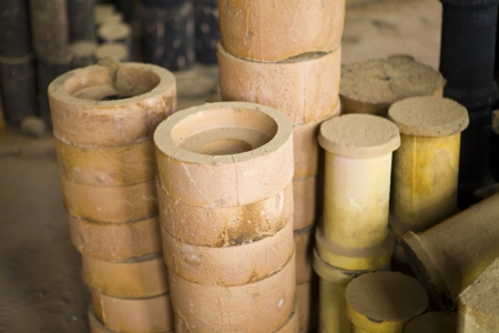 sand mold: Foundry, sand molded casting Stock Photo