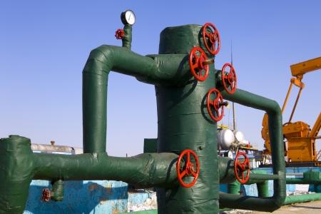 wellhead: production wellhead  Stock Photo