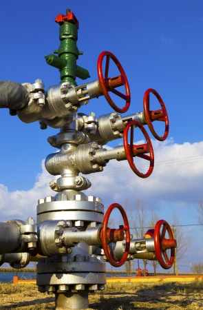 oil tool: production wellhead  Stock Photo