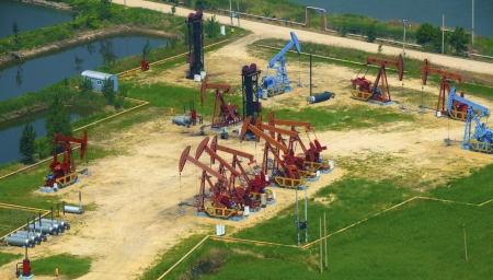 aerial view of oil pumps  Oil industry equipment