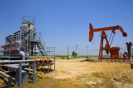 gas supply: oil and gas processing plant Stock Photo