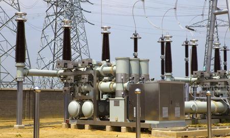 High voltage power transformer substation Stock Photo