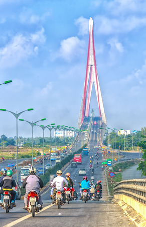 can tho: Can Tho, Vietnam - April 5th, 2015: beauty Tho cable stayed bridge in the morning with a winding path to bridge the two banks of the Mekong River is the main roads in Can Tho, Vietnam