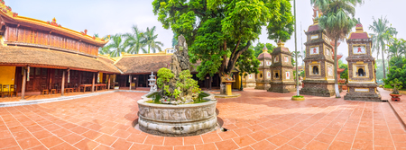 tran: Hanoi, Vietnam - September 29th, 2015: Panorama beauty Tran Quoc pagoda architecture at courtyard, there are numerous towers houses of worship space gods, Buddha bless country prosperous in Hanoi, Vietnam Editorial
