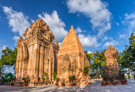 Khanh Hoa, Vietnam - February 2nd, 2015: Po Nagar Cham Appeal architectural complex three hierarchical church towers Cham Tower National Monument goddess State Pharmaceutical in Khanh Hoa, Vietnam. Stock Photo