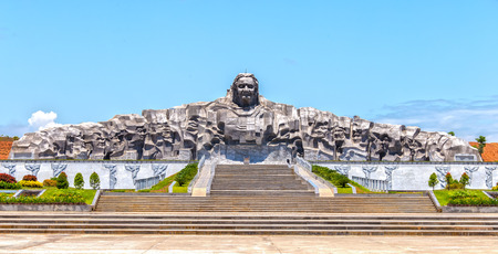 Quang Ngai, Vietnam, June 26, 2015: Architectural beauty biggest statue women Vietnam hero, this is biggest in Southeast Asia monument is made of granite 101m 18m high dragon in Quang Ngai, Viet Nam Editorial