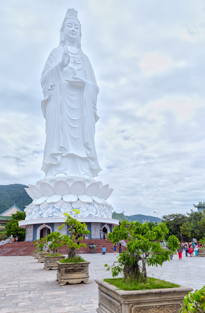 Da Nang, Vietnam, July 13, 2015: Buddha Avalokitesvara was praying inside a temple peace, happiness, Prosperity and development for many strenuous life in Da Nang, Vietnam Stock Photo