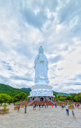 Da Nang, Vietnam, July 13rd, 2015: a temple praying Buddha peace, happiness, Prosperity and development to Attract more tourists to Buddhist Ceremony and relax in Da Nang, Vietnam Editorial