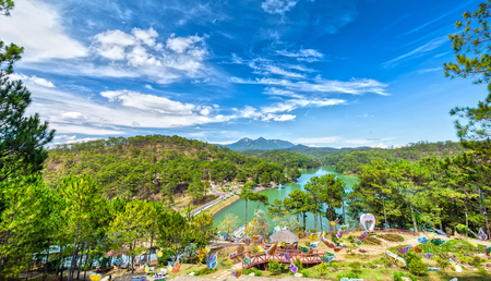Da lat on beautiful sunny day Love Valley with a large pine forest in valley lakes create romance for guests as lovers, this c?ng Landscapes of Lam Dong, Vietnam