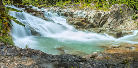 stratification: Panorama Yangbay waterfall, Khanh Hoa, Vietnam on spring morning with the dangerous rapids, but this is pretty wild rapids Khanh Hoa province in Vietnam nh?t