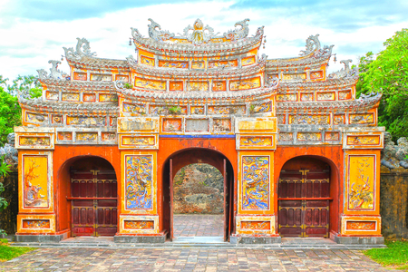 Hue, Vietnam - July 16th, 2011: Gateway to Hien Lam Pavilion was built in 1824 by emperor Ming Mang, Considered as a memorial it to Those Who Had Their lives devoted to Nguyen dynasty ESTABLISHMENT of the in Hue, Viet Nam