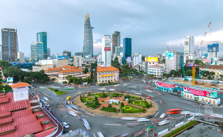 Ho Chi Minh City, Vietnam - July 23rd, 2015: Impressive beauty, colorful traffic khi afternoon, everyone crammed, crowded home in Roundabout Quach Thi Trang street in Ho Chi Minh city, Vietnam