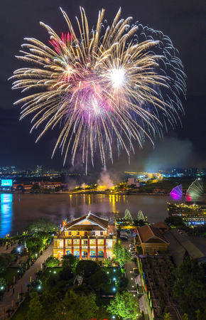 Ho Chi Minh City, Vietnam - September 2nd, 2015: Column high expression of welcome untouched fireworks, glorious and happy khi ng??i Celebrate something in Ho Chi Minh city, Vietnam
