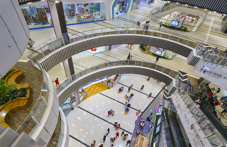 Ho Chi Minh City, Vietnam - January 8th, 2017: Shopping Mall with modern architecture equipped with escalators floors vài Amusement Parks many, restaurants, movie theaters weekend Attract visitors Editorial