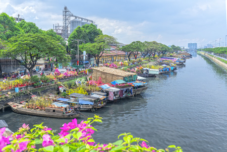 retail scene: Ho Chi Minh City, Vietnam - January 26, 2017: Flowers at the flower market on canal wharf. This is place where farmers sell apricot blossom and other flowers on Lunar New Year in Vietnam