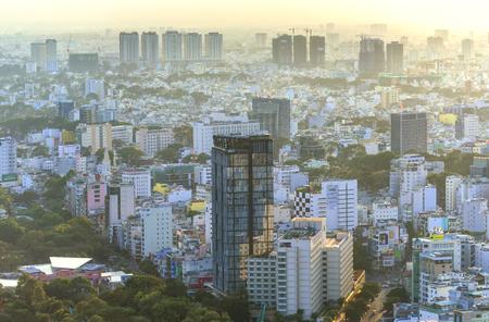 Ho Chi Minh City, Vietnam - April 11, 2017: High angle view of the Saigon skyline when the sun shines down