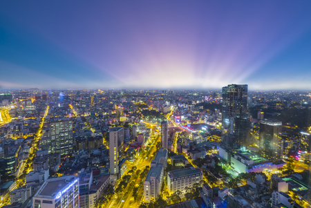 Ho Chi Minh City, Vietnam - April 11, 2017: High-angle view of Saigon skyline at sunset Editorial