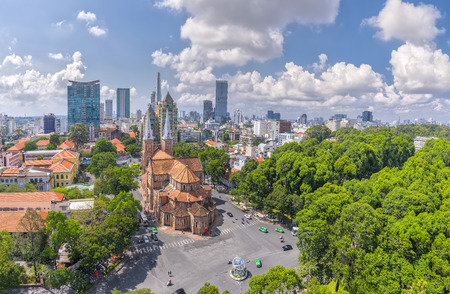 Ho Chi Minh City, Vietnam - May 1st, 2017: Aerial view of Notre Dame cathedral in Hanoi, Vietnam