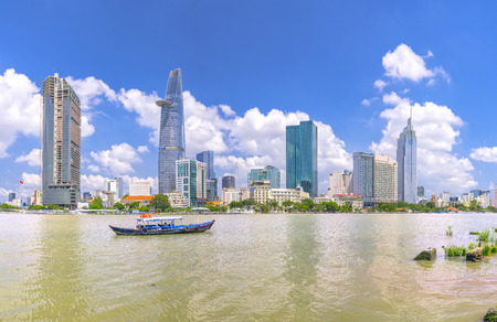 May 1st, 2017: Skyscrapers along the river with architecture office towers, hotels, cultural center and commercial development in Ho Chi Minh City, Vietnam Stock Photo - 79042663