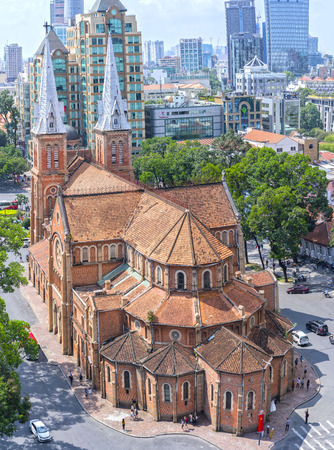 May 1st, 2017: Aerial view of Notre Dame cathedral in downtown Ho Chi Minh City, Vietnam