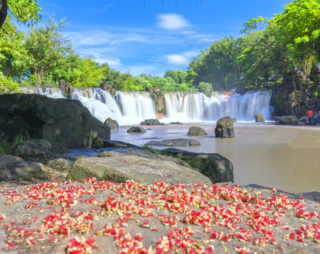 Beautiful waterfalls in Ecotourism with water flowing smooth as silk in front of the corpse of sesame buds to create more vibrant points attract tourists to visit on a sunny summer day