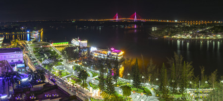Can Tho, Vietnam - January 19, 2017: Ninh Kieu wharf at night change over time shows economic development in Mekong Delta, this place also attracts tourists to visit on weekends in Can Tho, Vietnam Editorial
